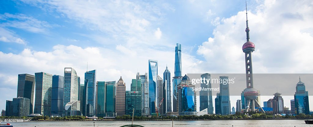 Bonita Xangai Pudong skyline ao Anoitecer : Foto de stock