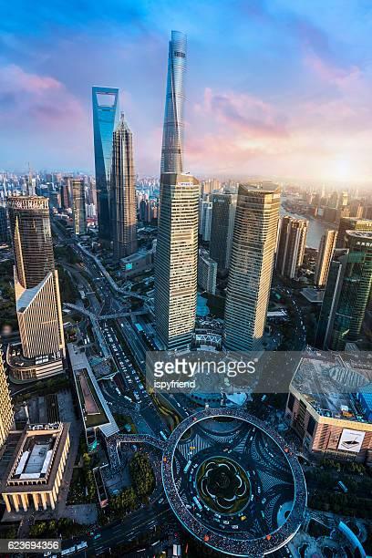 Beautiful Shanghai Pudong skyline  in Shanghai, China