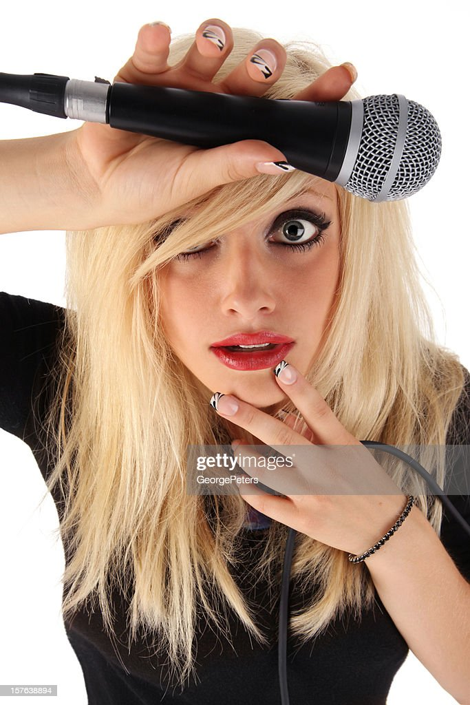 Beautiful Singer With Funny Expression : Stock Photo