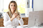 Beautiful smiling businesswoman portrait at workplace look in camera. White collar worker at workspace, exchange market, job offer, certified public accountant, internal Revenue officer concept