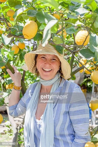 Wunderschöne lächelnde Frau in Zitronenbaum