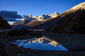 Beautiful snow capped mountains and lakes in Tibet, China