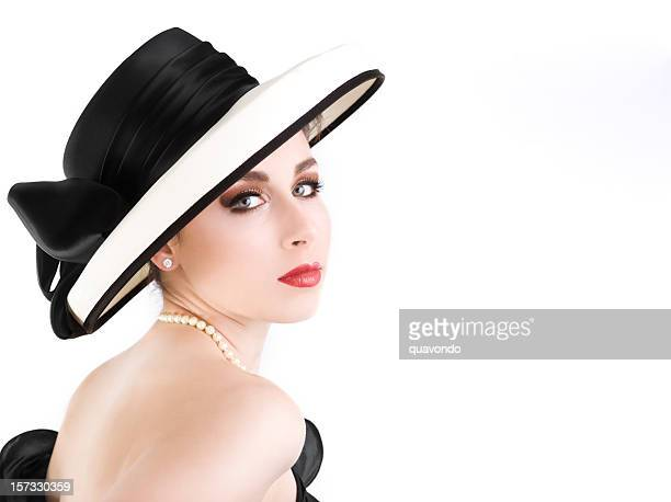 Beautiful Sophisticated Chanel Girl with Uncropped Hat on White, Copyspace