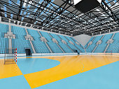 3D render of beautiful sports arena for handball with floodlights and sky blue seats and VIP boxes for ten thousand people