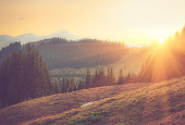 Beautiful spring mountain landscape at sunrise. Filtered image:cross processed vintage and soft focus effect.