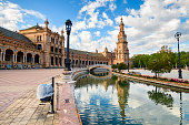view of famous plaza de España square at seville
