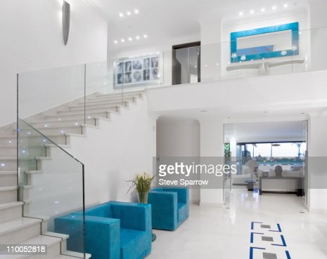 Beautiful staircase in luxury villa : Stock Photo