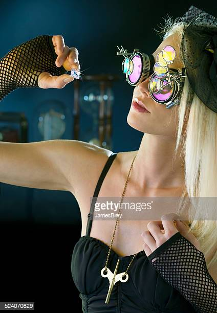 Beautiful Steampunk Jewel Thief Inspects Huge Diamond
