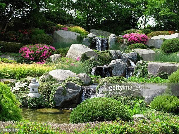 Beautiful stonegarden with waterfalls