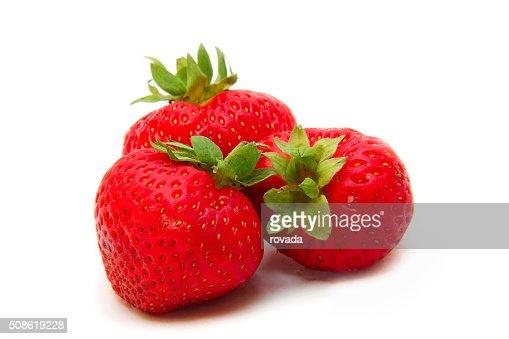 Beautiful strawberries isolated on white : Stock Photo