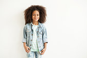 Beautiful stylish little girl in jean jacket