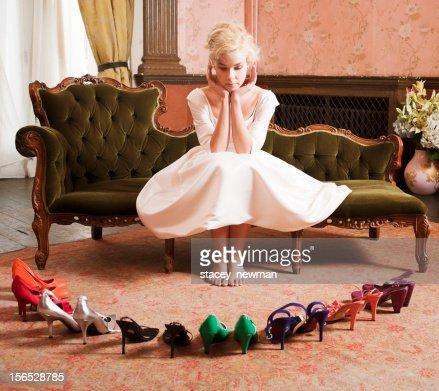 Beautiful, Stylish Woman Choosing Shoes