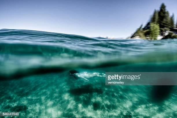 Beautiful summer day swimming underwater in Lake Tahoe