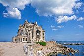 Beautiful summer landscape with Old Casino, symbol of the Constanta city, Romanian coastal destination at  the Black Sea