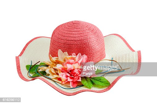 Beautiful summer woman hat beach with flower isolated : Foto de stock