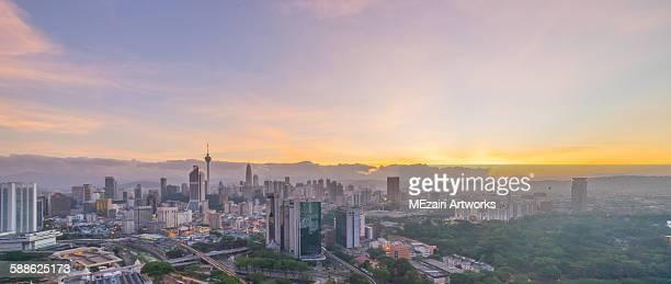 Beautiful sunrise at Kuala Lumpur. Panoramic view.