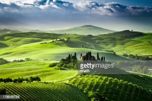 Beautiful sunrise in the valley of San Quirico d'Orcia, Tuscany, : Stock Photo
