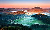 Beautiful landscape of Saxony mountain in Czech republic