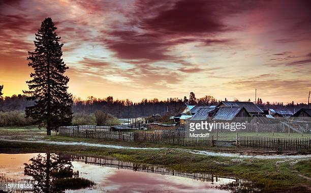 Beautiful sunrise over the village