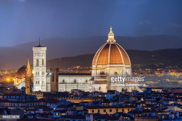 Beautiful sunset and rain thunder storm over Cathedral of Santa Maria del Fiore (Duomo) , Florence, Italy