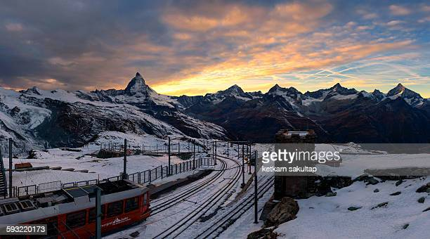 Beautiful sunset at Gornergrat