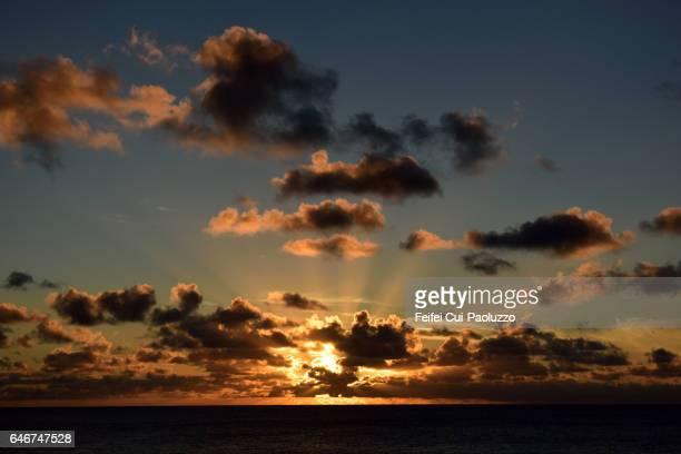 Beautiful sunset at Hanga Roa in Easter Island of Chile