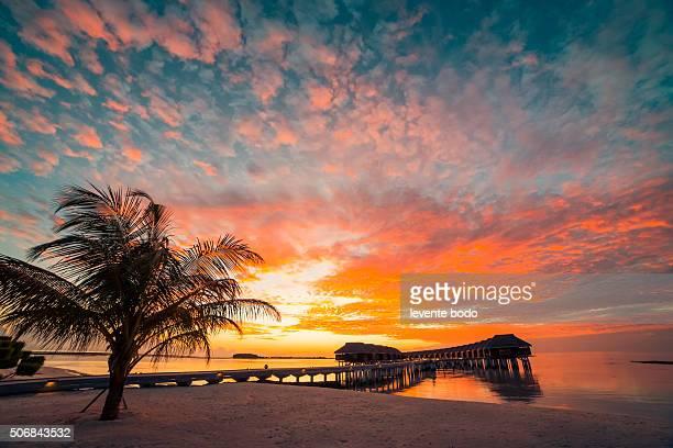 Beautiful sunset at Maldives beach