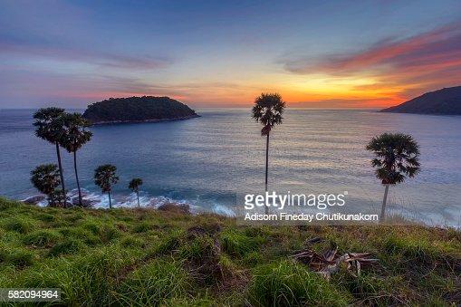 Beautiful Sunset At Promthep Cape Phuket Stock Photo ...