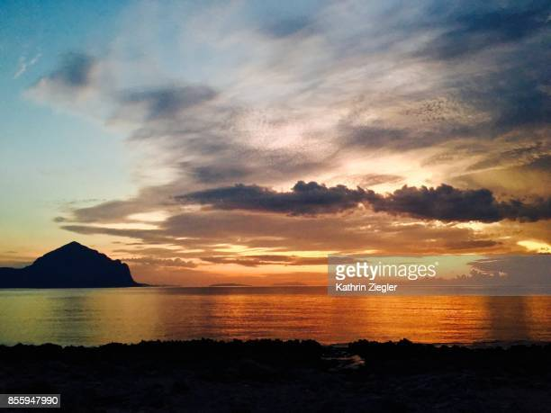 Beautiful sunset at the northern coast of Sicily, Italy