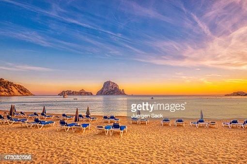 Beautiful sunset beach at Cala d´Hort on Ibiza