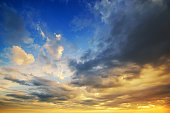 beautiful sunset with clouds. beautiful sky background