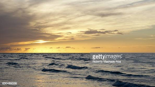 Beautiful sunset colours in a Cuban tropical idyllic beach The beach tourism sold by the Caribbean island has risen significantly in recent years
