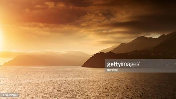 Beautiful sunset from Liguria, Italy