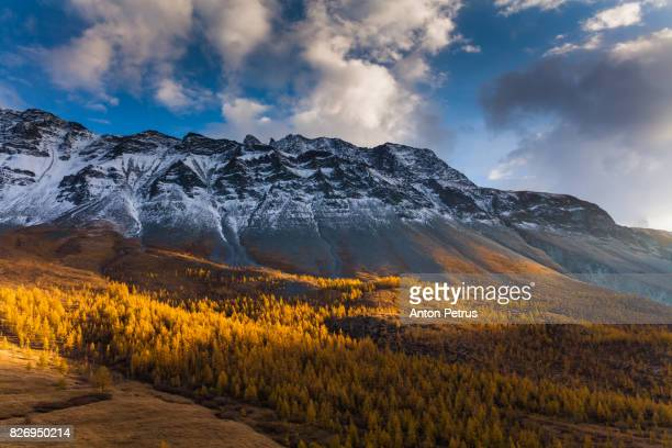 Beautiful sunset in a mountain valley in autumn