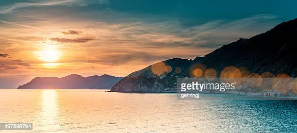 Beautiful sunset in Liguria, Italy