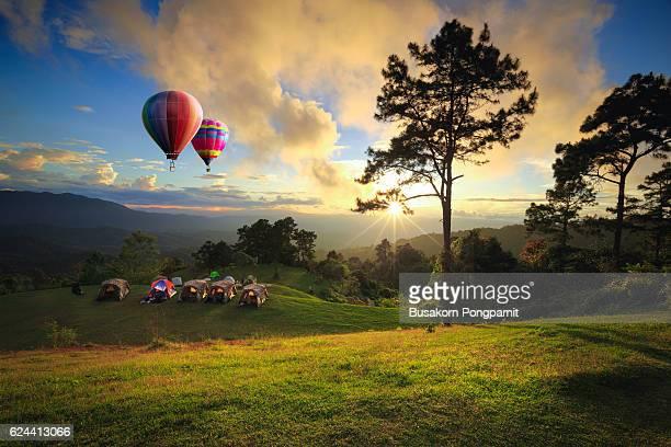 Beautiful sunset nature background Mountains and sky ,huai nam dang