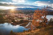Beautiful sunset near Sofia, Bulgaria - Pancharevo lake and autumn trees