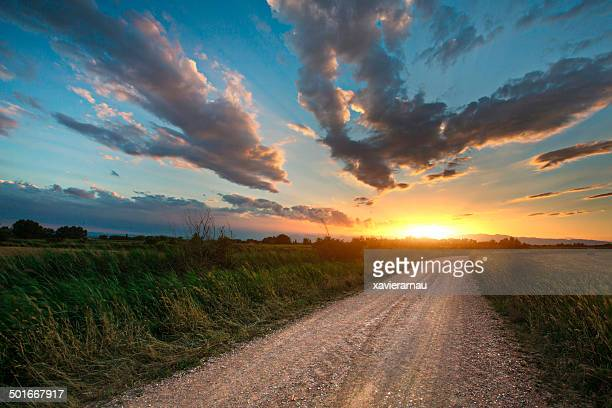 Beautiful sunset on a country road