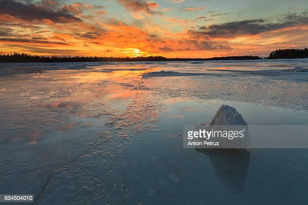 Beautiful sunset on the ice