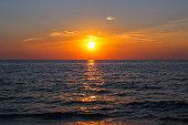 Unforgettable sunset on the west coast of Lefkada Island, Greece