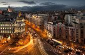 Beautiful sunset over Madrid city