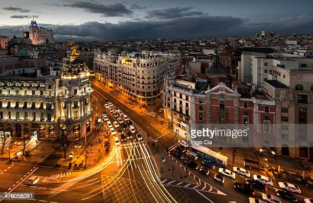 Beautiful sunset over Madrid city