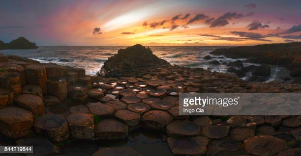 Beautiful sunset over the Giant´s Causeway