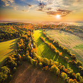 Beautiful sunset over The Radbuza river. Autumn in western Bohemia. Aerial view to scenic landscape in Czech Republic, Central Europe. HDR (warm filtered) photography.