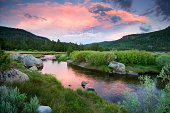 A beautiful sunset over the West Fork of the Carson River in Hope Valley near South Lake Tahoe, CA.