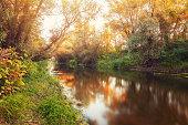 beautiful sunset  in autumn over beautiful river