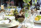 Beautiful table setting for a nice event like wedding or birthday.
