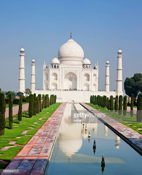 Beautiful Taj Mahal, Agra, Radjasthan, India under blue sky.