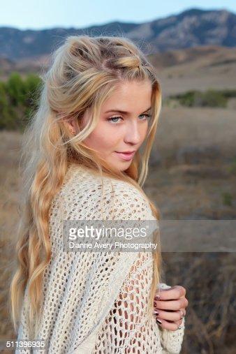 Beautiful Teen Looking Over Shoulder Stock Photo