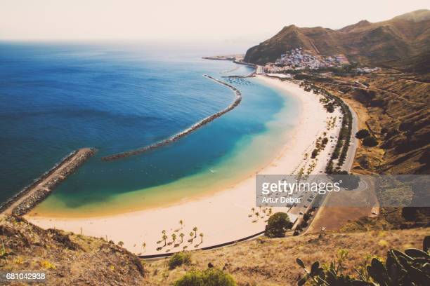 Beautiful Tenerife island beach taken from elevated viewpoint with nice colors and sunny day.